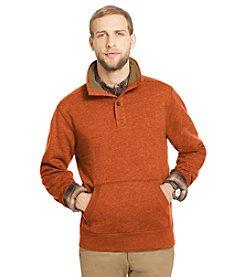 Bass® Men's Long Sleeve Sueded Fleece Button Neck Sweatshirt