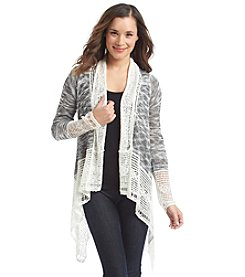 Oneworld® Open Front Crochet Cardigan