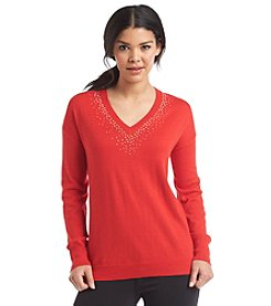 Chaus Embellished V-Neck Sweater