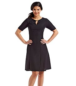 London Times® Textured Fit And Flare Dress