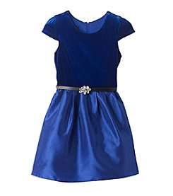 Amy Byer Girls' 7-16 Velvet Bodice Dress with Taffeta