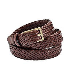 Fashion Focus Brown/Gold Braided Leather Belt