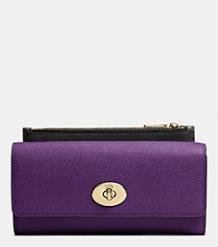 COACH SLIM ENVELOPE WALLET WITH POP-UP POUCH IN EMBOSSED TEXTURED LEATHER