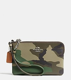 COACH SMALL L-ZIP WRISTLET IN CAMO PRINT CROSSGRAIN LEATHER