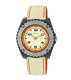 Sprout® Orange Accented Khaki Organic Cotton Strap Watch