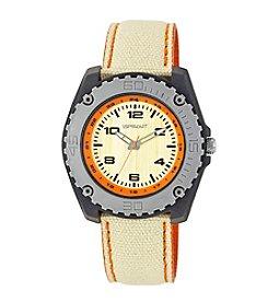 Sprout® Orange Accented Khaki Organic Cotton Strap Watch