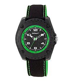 Sprout® Green Accented Black Organic Cotton Strap Watch