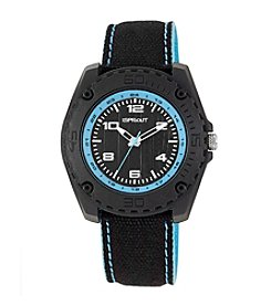 Sprout® Light Blue Accented Black Organic Cotton Strap Watch