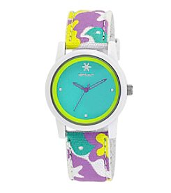 Sprout® Turquoise Dial Multicolor Organic Cotton Strap Watch