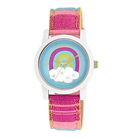 Sprout® Swarovski® Crystal Accented Rainbow Theme Dial Multicolor Organic Cotton Strap Watch
