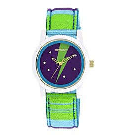 Sprout® Swarovski® Crystal Accented Lightning Theme Dial Multicolor Organic Cotton Strap Watch