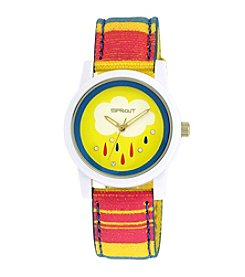 Sprout® Swarovski® Crystal Accented Rain Theme Dial Multicolor Organic Cotton Strap Watch