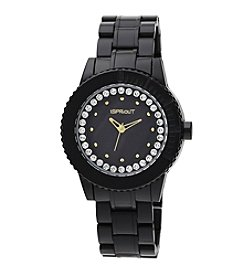 Sprout® Swarovski® Crystal Accented Black Corn Resin Bracelet Watch