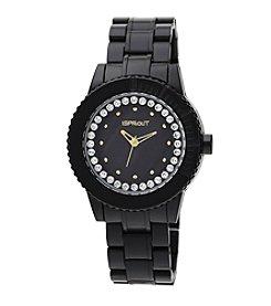 Sprout® Swarovski® Crystal Accented Black Corn Resin Bracelet Watch