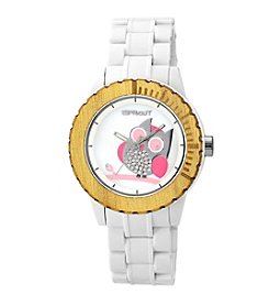 Sprout® Owl Dial White Corn Resin Swarovski Elements Bracelet Watch