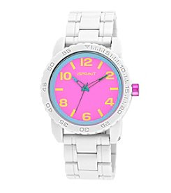 Sprout® Pink Dial White Corn Resin Bracelet Watch