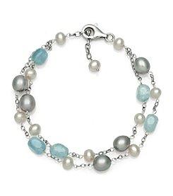 0.925 Sterling Silver Milky Aqua & Freshwater Pearl Bracelet