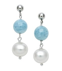 .925 Sterling Silver Milky Aqua & Freshwater Pearl Dangle Earrings