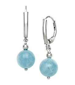 0.925 Sterling Silver Milky Aqua Leverback Earrings