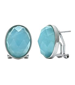 0.925 Sterling Silver Faceted Milky Aqua Oval Earrings