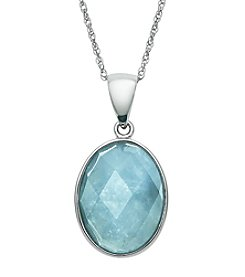 .925 Sterling Silver Faceted Milky Aqua Pendant Necklace