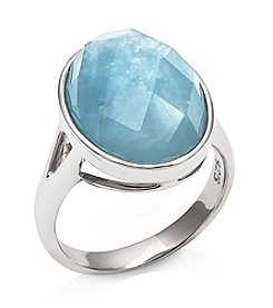 .925 Sterling Silver Faceted Milky Aqua Ring
