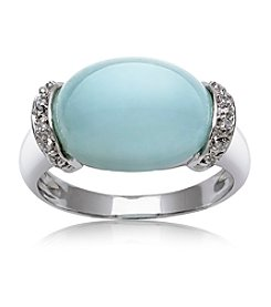 0.925 Sterling Silver Blue Aquamarine Ring