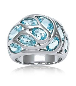 0.925 Sterling Silver Blue Topaz Multi Ring