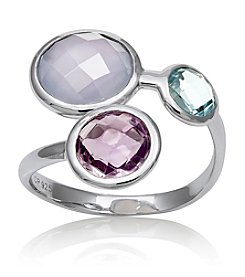 .925 Sterling Silver Blue Topaz & Amethyst Blue Multi Ring, Size 7