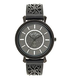 Jessica Simpson Emma Black Perforated Leather Strap Watch *