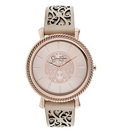 Jessica Simpson Emma Khaki Perferated Leather Strap Watch *