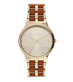 Jessica Simpson Lily Goldtone and Luggage Leather Watch *