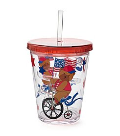 LivingQuarters Americana Curly Straw Tumbler