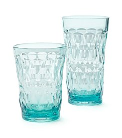 LivingQuarters Tropical Diamond Aqua Glass