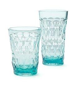 LivingQuarters Tropical Diamond Aqua Glass