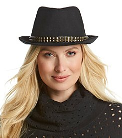 ruff hewn GREY Black Fedora with Studs