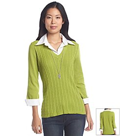 Notations® Solid Layered Look Sweater