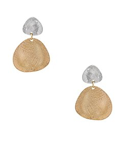 Erica Lyons® Two Tone Metal Double Drop Disks Pierced Earrings