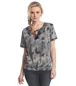 Ruff Hewn Tie Dye Embroidered Peasant Top