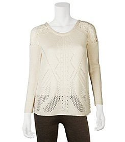 A. Byer Crochet Shoulder Sweater