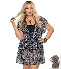 Becca® Plus Size Geo Printed Lace Tunic Coverup