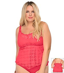 Becca® Plus Size Ritual Crochet Tankini Swim Top