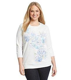 Studio Works® Plus Size Floral Print Sweatshirt