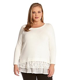 Karen Kane® Plus Size Lace Inset Sweater