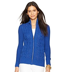 Lauren Jeans Co.® Cable-Knit Full-Zip Cardigan