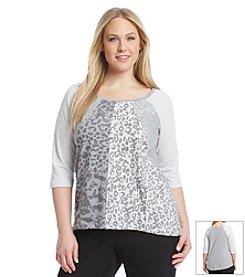 Laura Ashley® Plus Size Animal Sequin Top