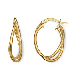 14K Yellow Gold Overlapping Hoop Earrings