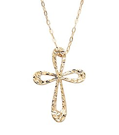 10K Yellow Gold Cross Pendant Necklace