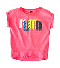 PUMA® Girls' 2T-16 Short Sleeve Dot Band Bottom Tee