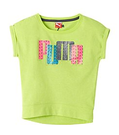 PUMA® Girls' 2T-6X Short Sleeve Dot Band Bottom Tee